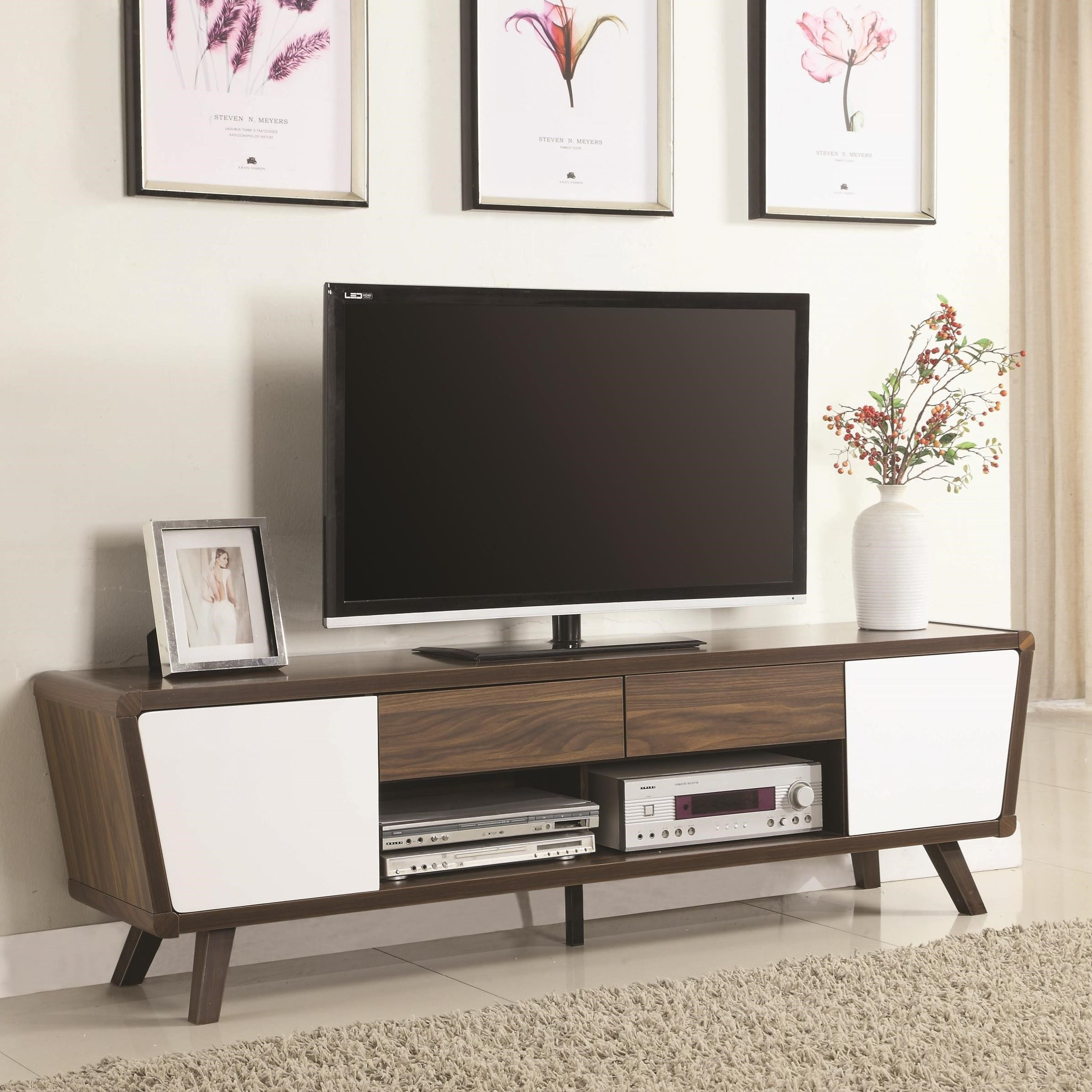 Entertainment Units Two Tone Mid Century Modern TV Console By Coaster