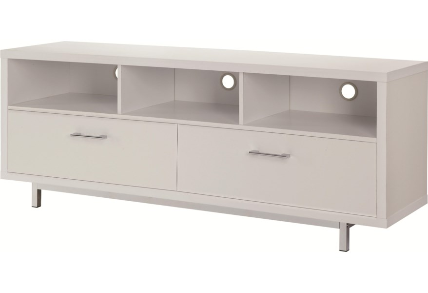 cheap for discount 62d44 70447 Entertainment Units Low TV Console w/ Metal Base by Coaster at Dunk &  Bright Furniture
