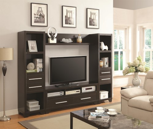 Coaster Entertainment Units Entertainment Wall Unit with 6 Drawers and 8 Shelves