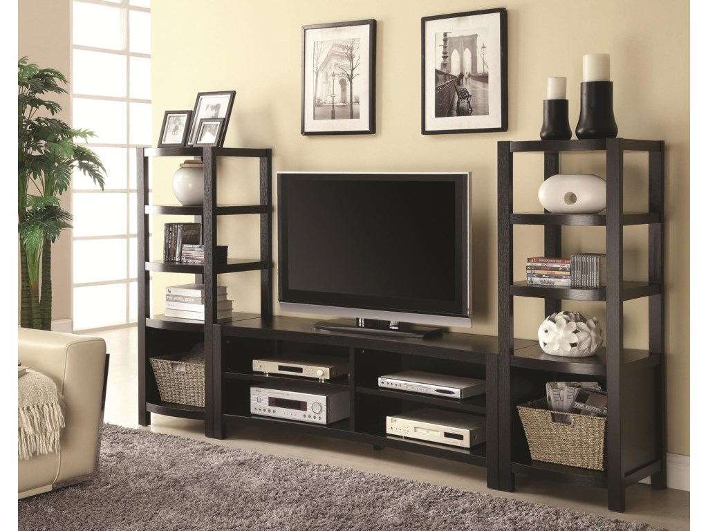 Two Media Towers Shown with TV Stand