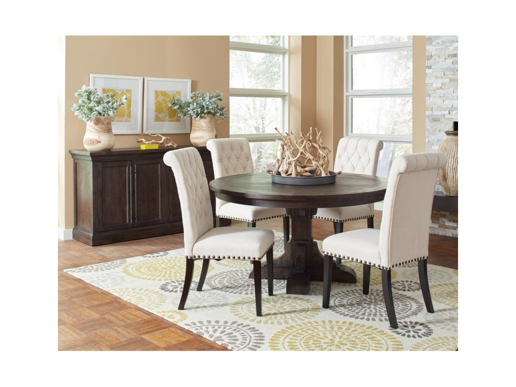 Coaster Weber Casual Dining Room Group with Cream Upholstered Chair ...