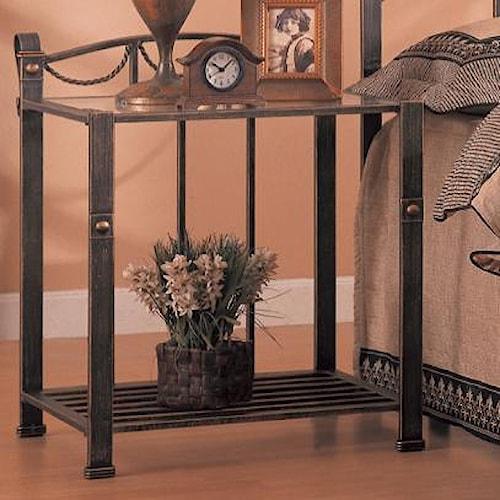 Coaster Georgia Casual Iron Nightstand with Shelf