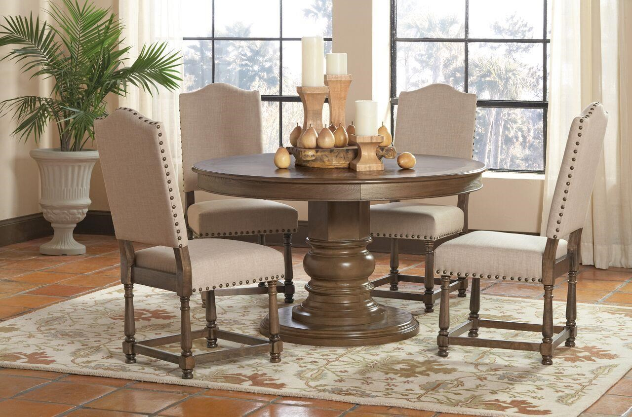 coaster willem 5 piece round single pedestal table set