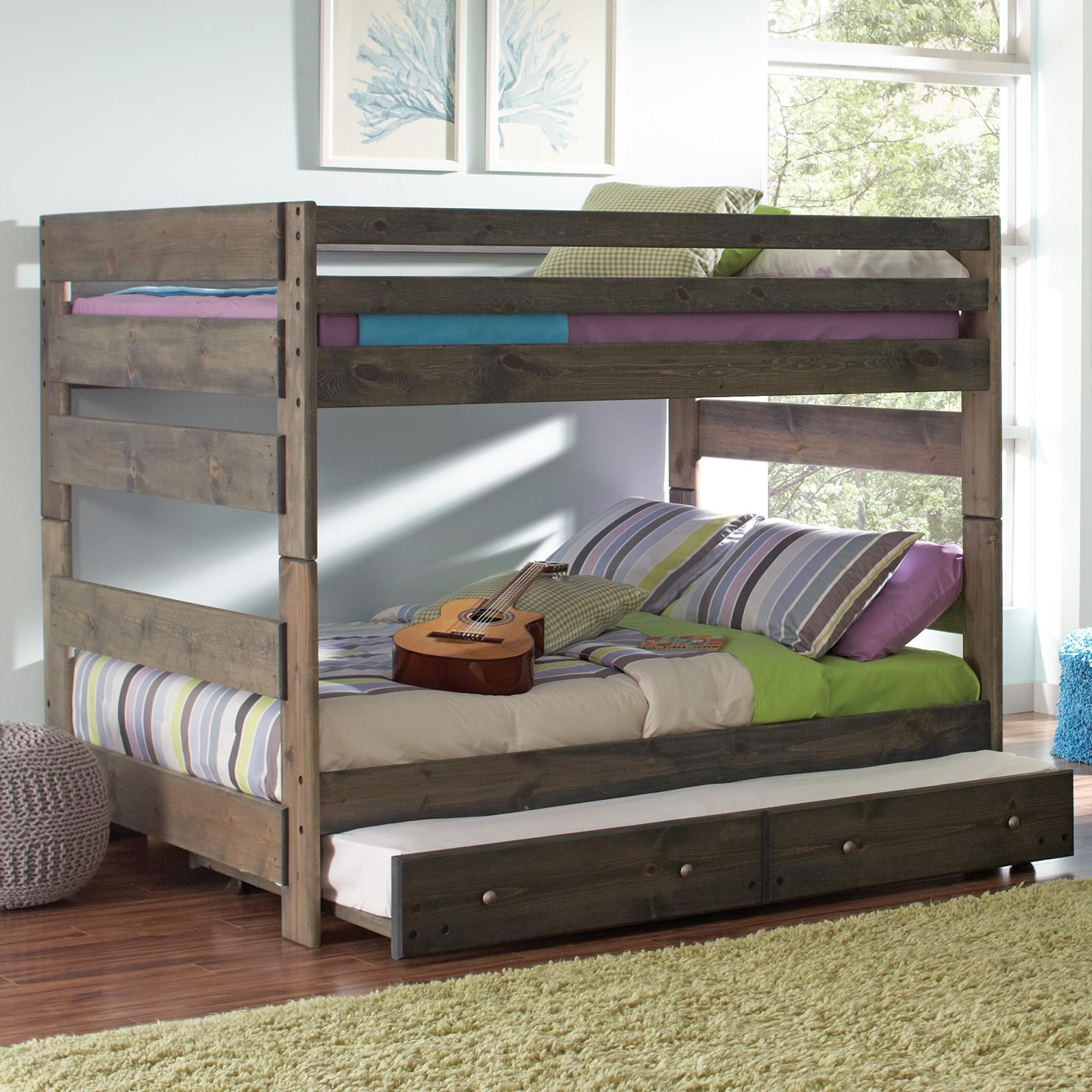Full Over Full Bunk Bed with Pull out Trundle