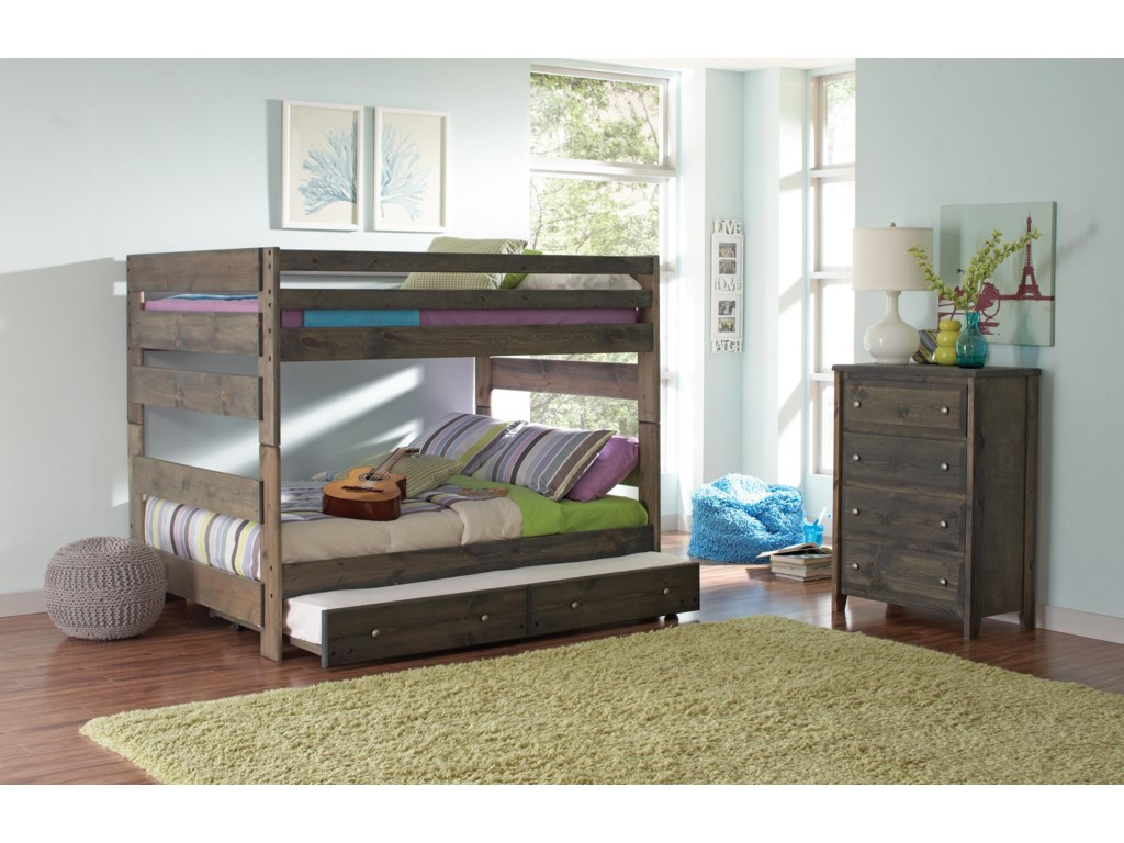 Wrangle Hill Full Over Bunk Bed With Pull Out Trundle By Coaster
