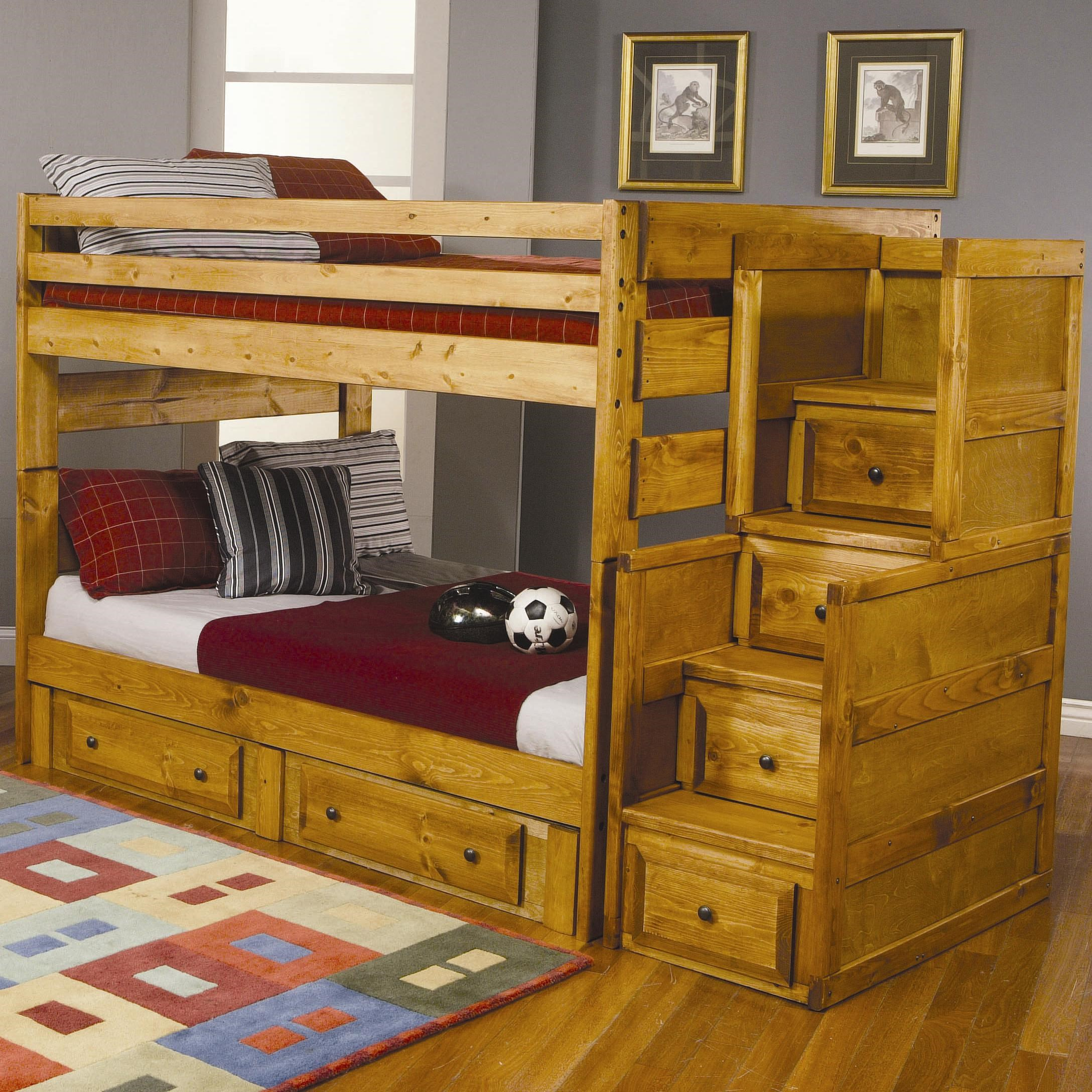 Bunk Bed With Storage coaster wrangle hill full over full bunk bed with under-bed