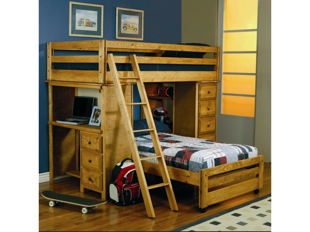 Coaster Wrangle Hill Twin Over Twin Loft Bed With Built In Desk