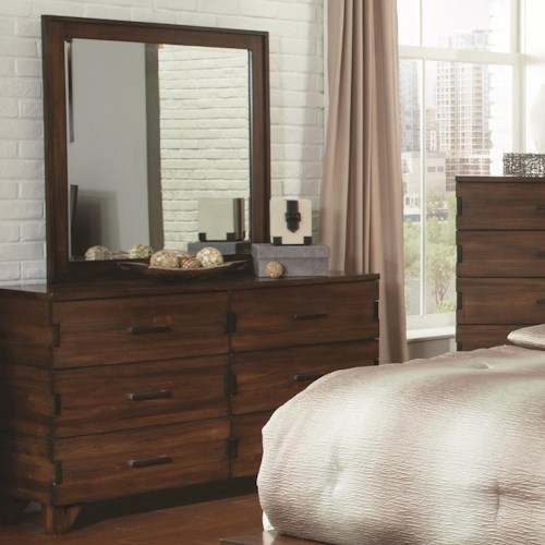 Coaster Yorkshire 6 Drawer Dresser and Beveled Mirror Combo