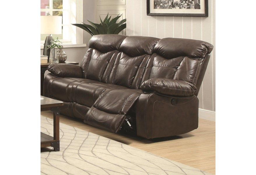 Zimmerman Reclining Sofa With Pillow Arms By Coaster At Dunk Bright Furniture
