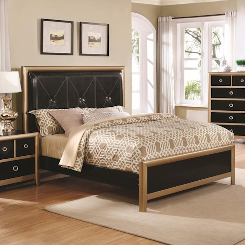 Coaster Zovatto Black and Gold Art Deco King Bed with Upholstered Headboard