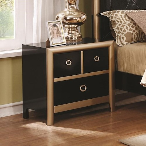 Coaster Zovatto Black and Gold Art Deco Nightstand