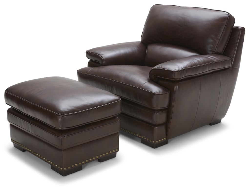 Warehouse M 3301Brown Leather Ottoman