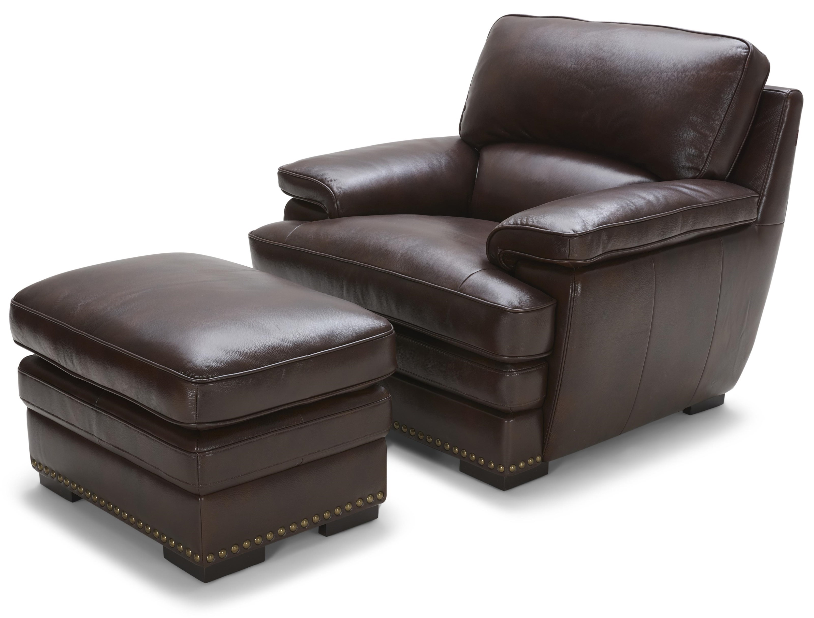 Charmant Warehouse M 3301Brown Leather Chair U0026 Ottoman ...
