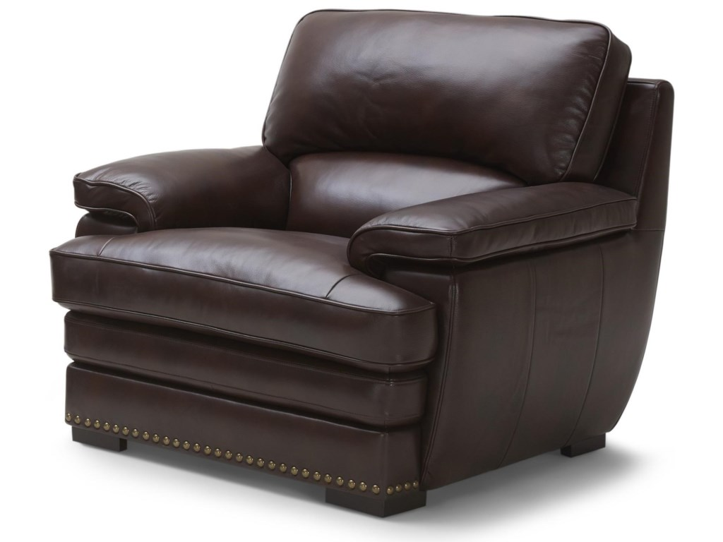 Warehouse M 3301Brown Leather Chair & Ottoman