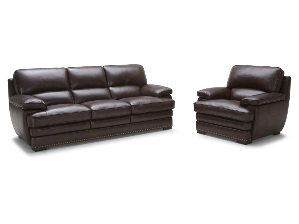 Warehouse M 3301Brown Leather Sofa