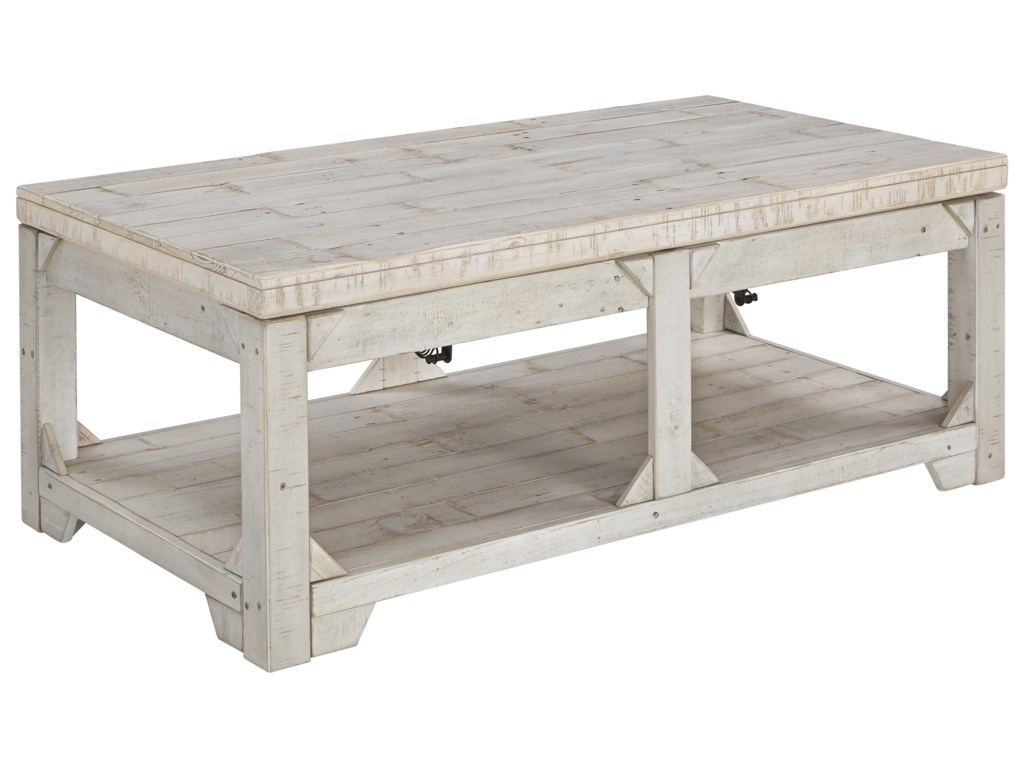 Signature Design By Ashley Fregine Rustic Lift Top Cocktail Table