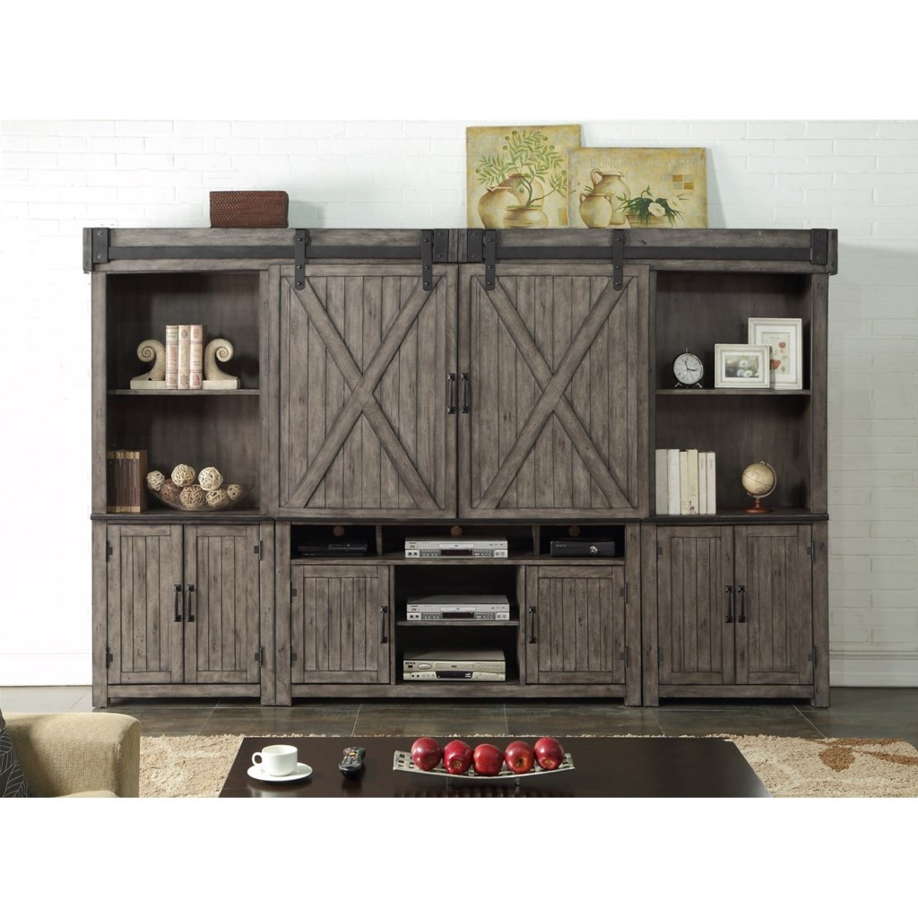Legends furniture storehouse collection zstr 1001 entertainment wall unit with wire management dunk bright furniture wall unit