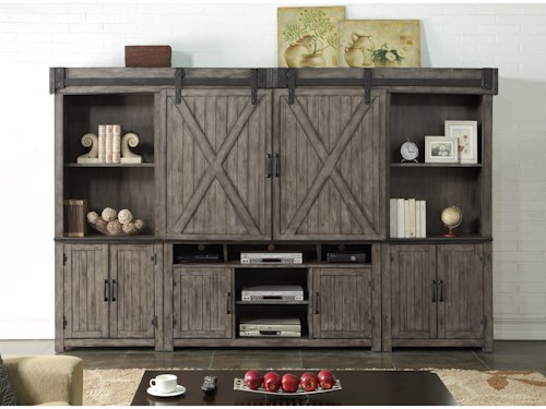 Legends Furniture Storehouse Collection Entertainment Wall Unit with Wire Management