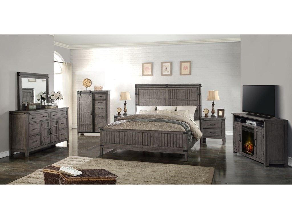 Vendor 1356 Storehouse CollectionKing Wood Panel Bed