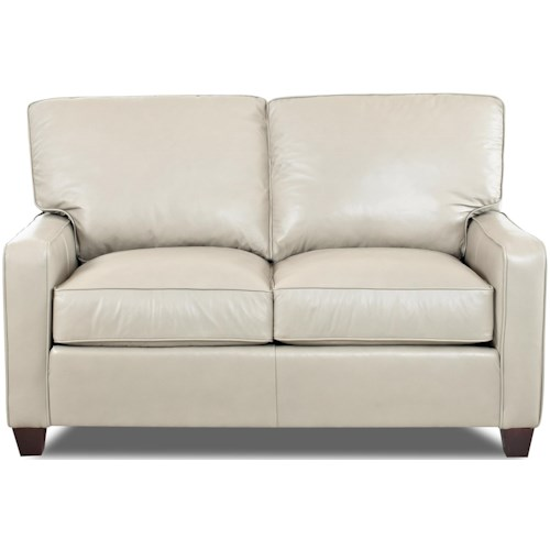 Comfort Design Ausie Upholstered Love Seat with Track Arms and Exposed Wooden Legs