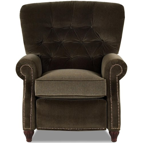 Comfort Design Avenue High Leg Recliner with Contrasting Seat Cushion and Nailhead Accent