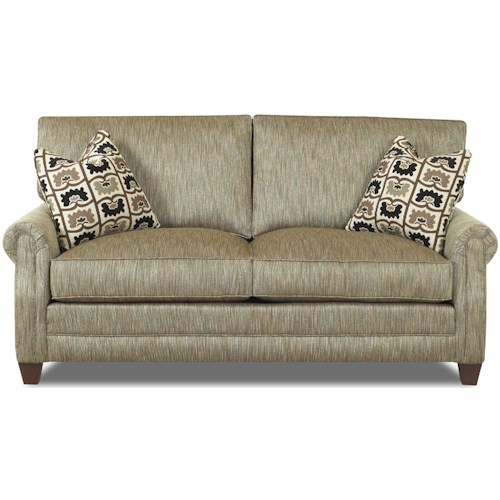 Comfort Design Camelot Love Seat with Exposed Wooden Legs and Welt Cord Trim