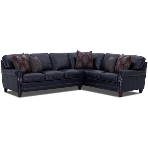 Comfort Design Camelot Sectional Sofa Group with Welt Cord Trim and Exposed Wooden Legs