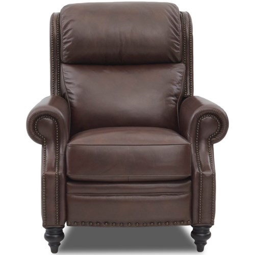 Comfort Design Classic Traditional Power High Leg Leather Recliner with Nailhead Trim