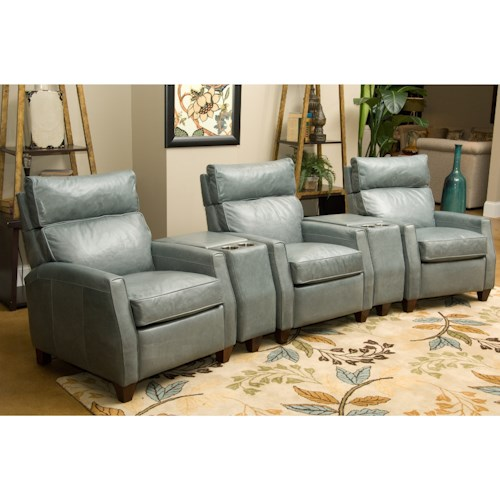 Comfort Design Collins Three Seat Reclining Home Theater Group with High Legs and Adjustable Headrests