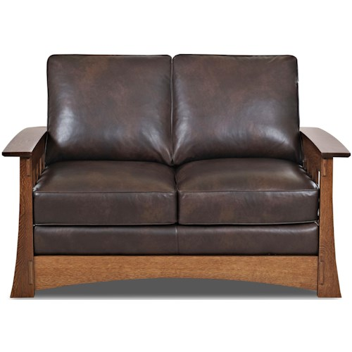Comfort Design Highlands Upholstered Love Seat with Wooden Base and Loose Pillow Back