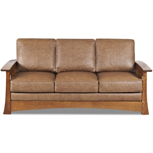 Comfort Design Highlands Upholstered Sofa with Wooden Base and Loose Pillow Back