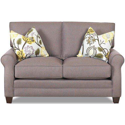 Comfort Design Loft Love Seat with Exposed Wooden Legs and Welt Cord Trim