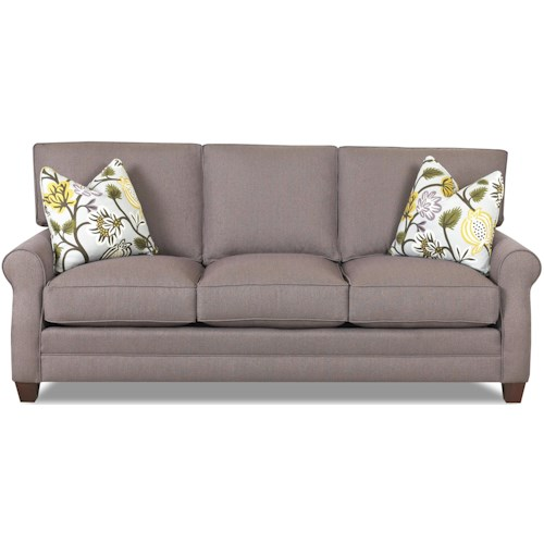 Comfort Design Loft Sofa with Exposed Wooden Legs and Welt Cord Trim