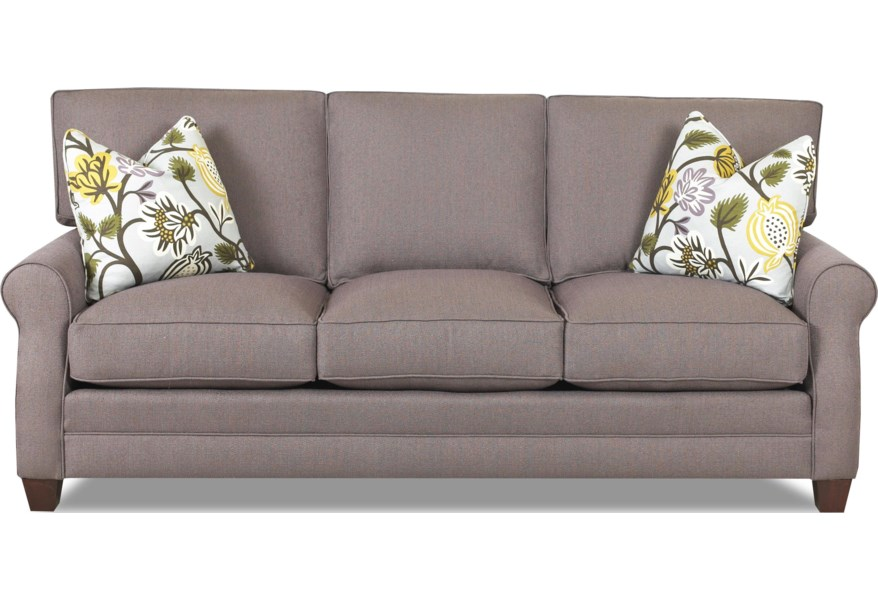 Comfort Design Loft Sofa With Exposed Wooden Legs And Welt