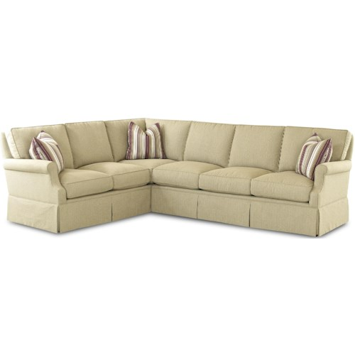 Comfort Design Madame Chairman Traditional L-Shaped Sectional Sofa with Skirted Base