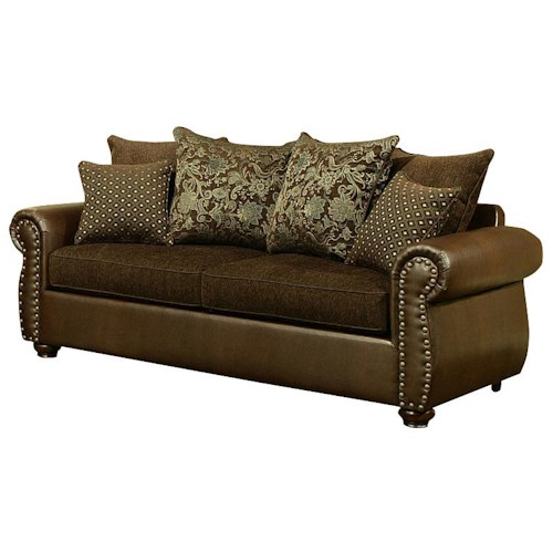 Comfort Industries Austin  Traditional Styled Two Cushion Sofa with Nail Head Trim