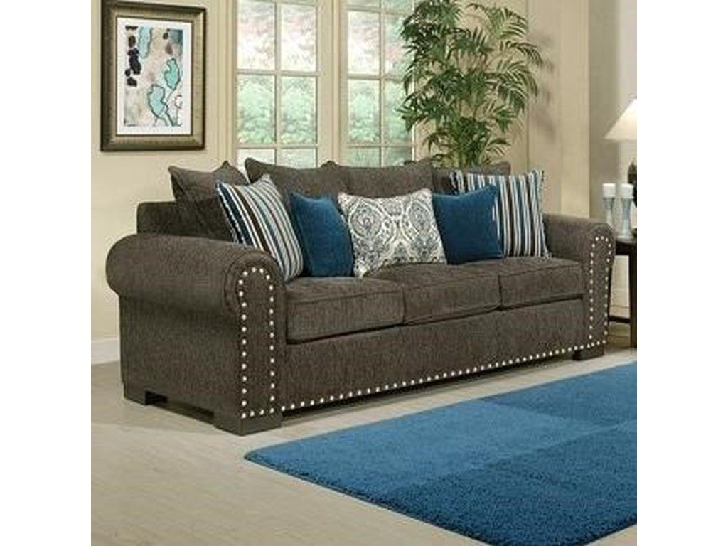 Comfort industries razor traditional sofa with rolled arms and nailhead trim