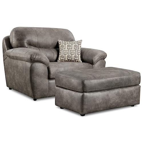 Corinthian 18A0 Leather Chair & Ottoman