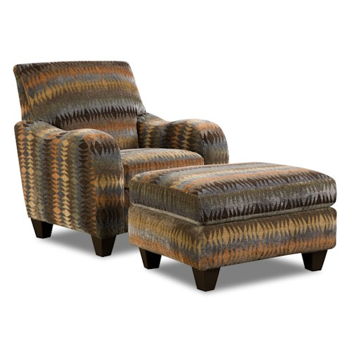 Corinthian 23A0 Native Print Specialty Chair and Ottoman