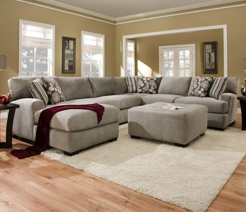 Corinthian 29a0 Sectional Sofa With 5 Seats 1 Is A Chaise J J Furniture Sectional Sofas