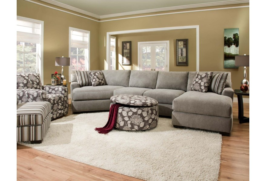 Corinthian 29a0 Sectional Sofa With 4