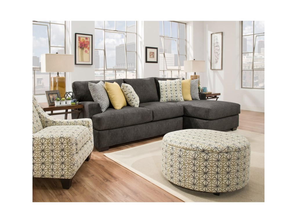 Corinthian 29C0Three Seat Sectional with Chaise