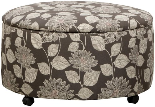 Corinthian 29A0 Round Storage Ottoman with Casters