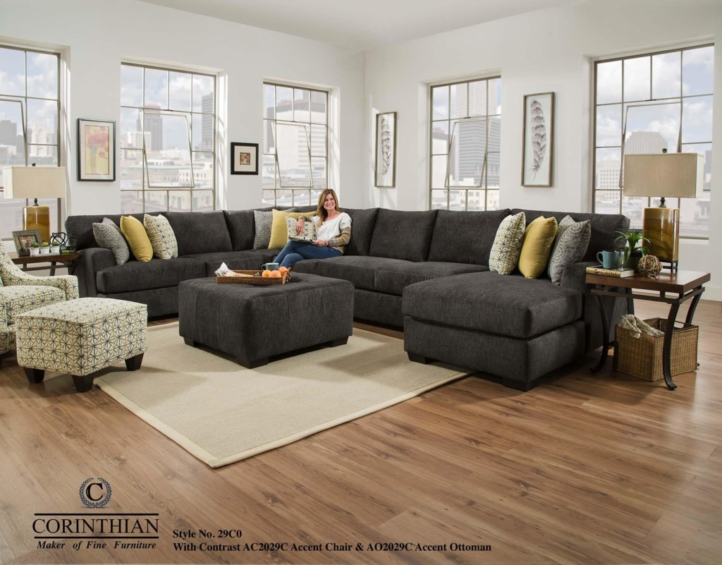Corinthian Alton Alton 4 Piece Sectional with RSF Chaise Great