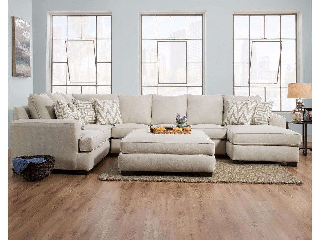 Corinthian ColonistOatmeal Sectional with Chaise