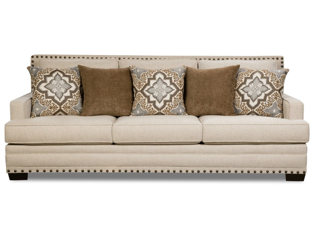 Corinthian 34b0 Transitional Sofa With Nailhead Trim Miskelly