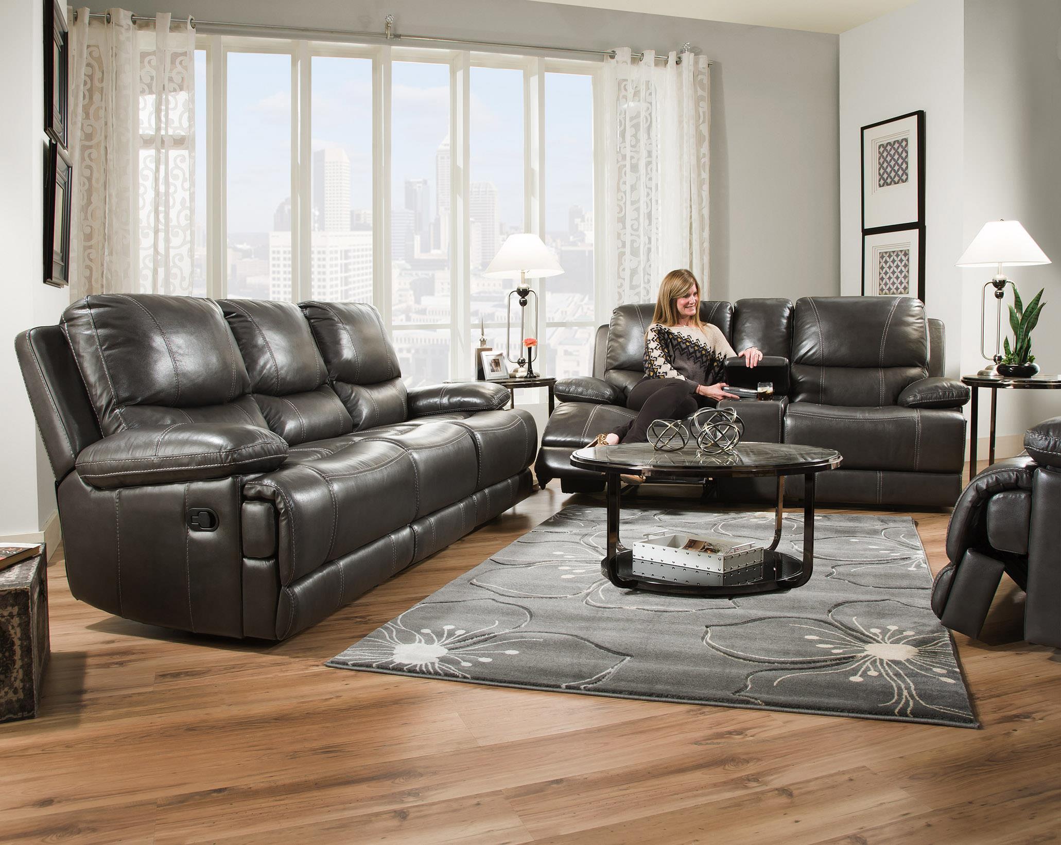 Corinthian Brooklyn Charcoal CORI 42801 30,BROOKLYN CHARCOAL Brooklyn  Charcoal Leather Reclining Sofa