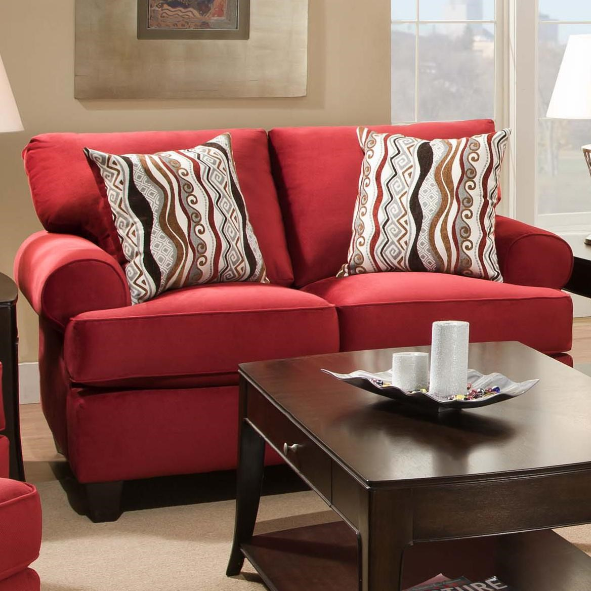 Contemporary living room couches Modern Furniture Corinthian Jackpot Red Casual And Contemporary Living Room Loveseat Great American Home Store Corinthian Jackpot Red 47b2 Casual And Contemporary Living Room