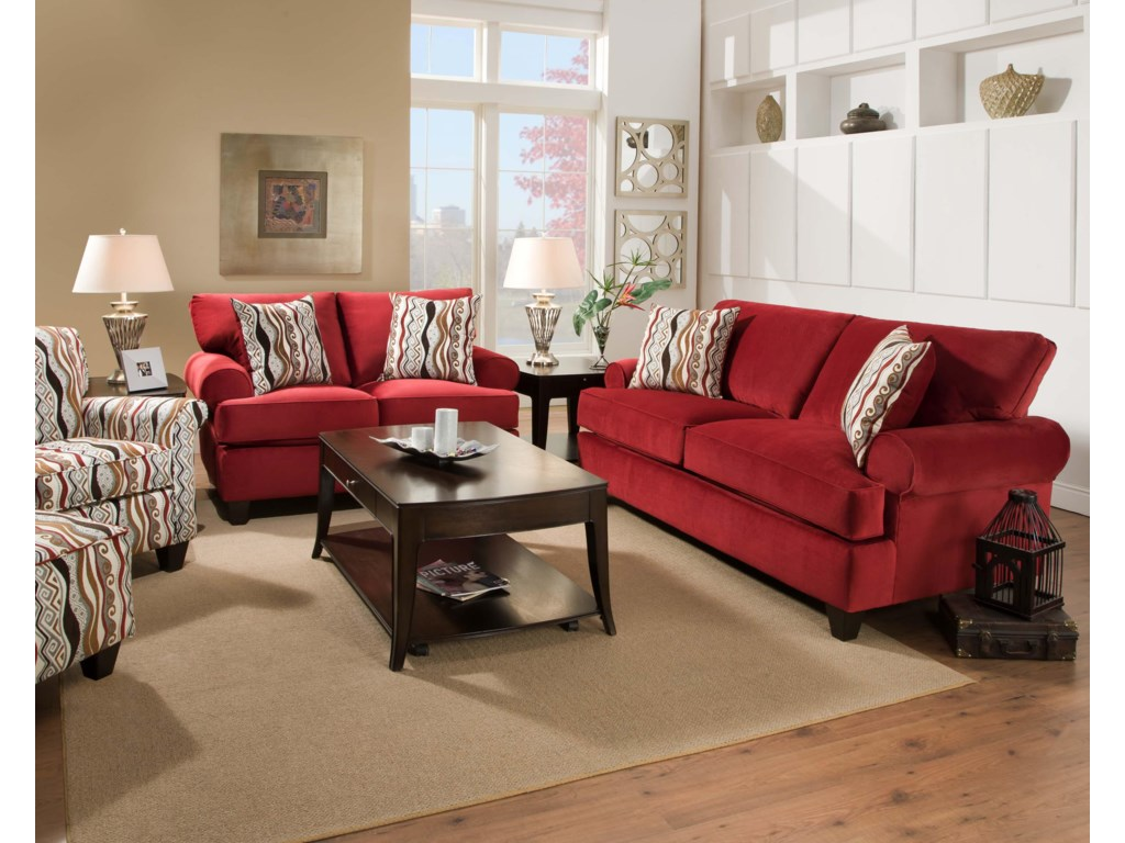 Shown with Coordinating Collection Sofa. Accent Chair and Ottoman Shown Left Side.