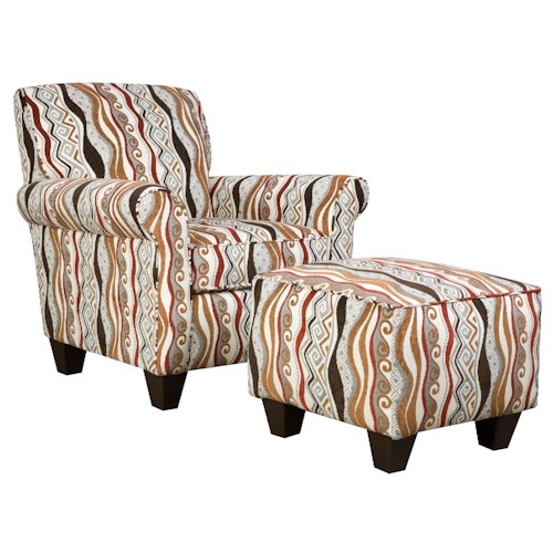 Corinthian 47A0 and 47B0 Contemporary Specialty Chair and Ottoman Set
